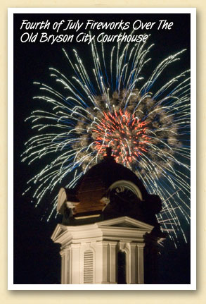4th of July Fireworks over the old courthouse in Bryson City, NC