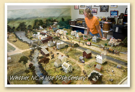 Scale model of Whittier, NC, circa 1895