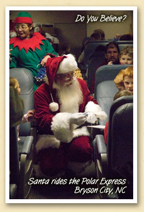 Santa rides the Polar Express train from Bryson City, NC