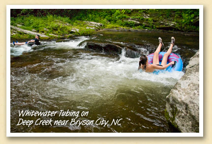 Whitewater tubing on Deep Creek near Bryson City, NC