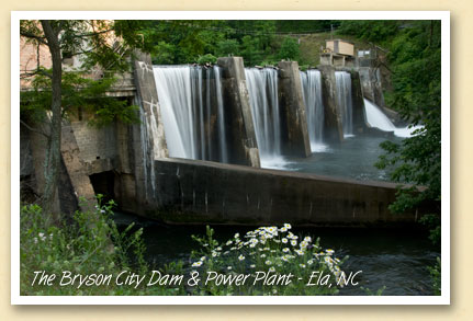 The Bryson City dam on the Oconaluftee River at Ela