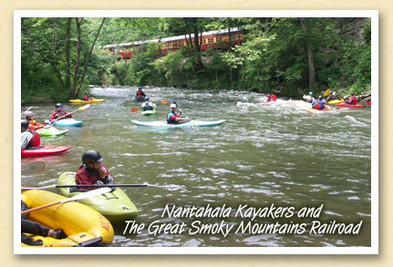 Nantahala kayakers and the Great Smoky Mountains Railroad\'s scenic excursion